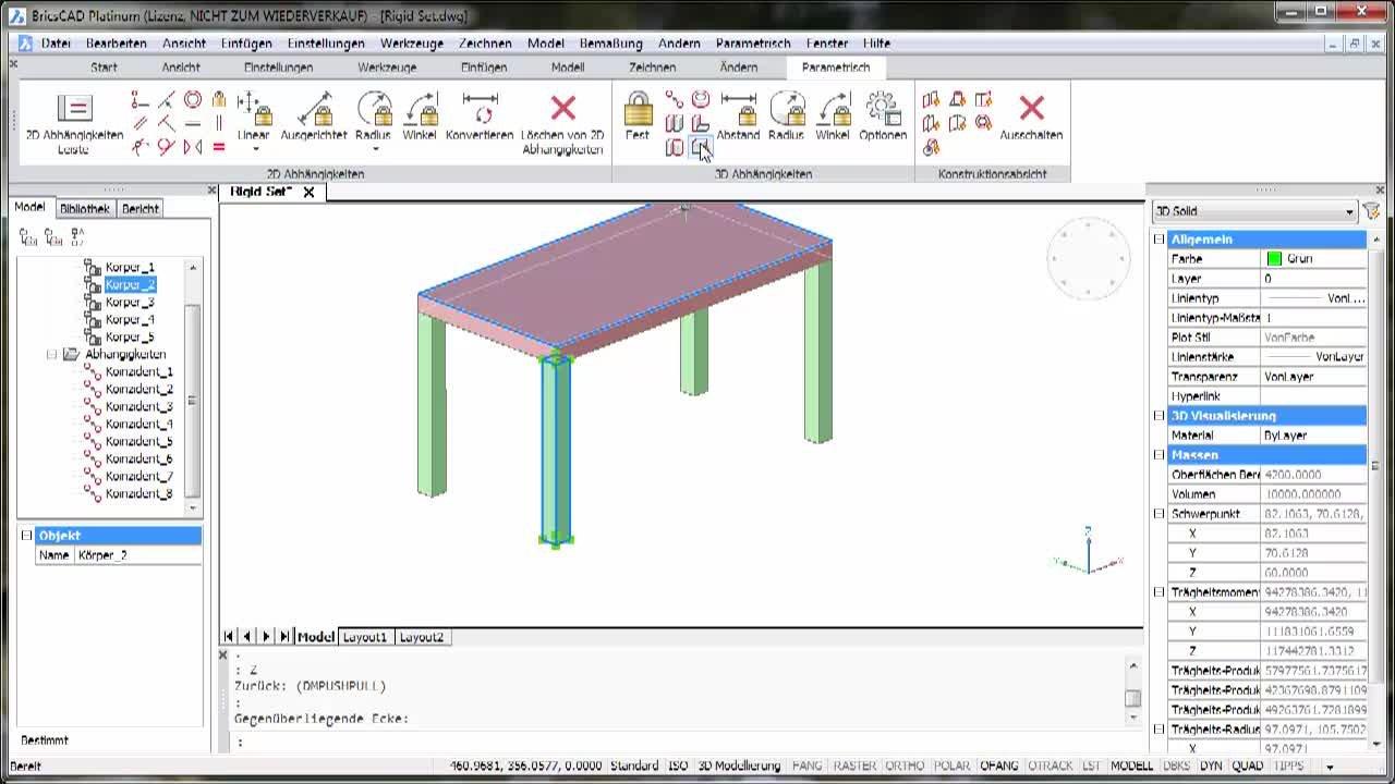3D-Parametrik biegesteife Verbindung