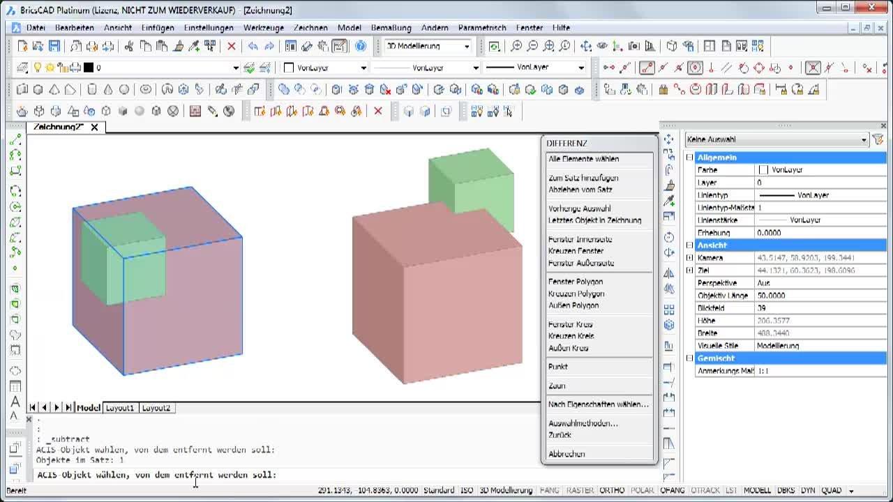 3D-Objekte voneinander abziehen