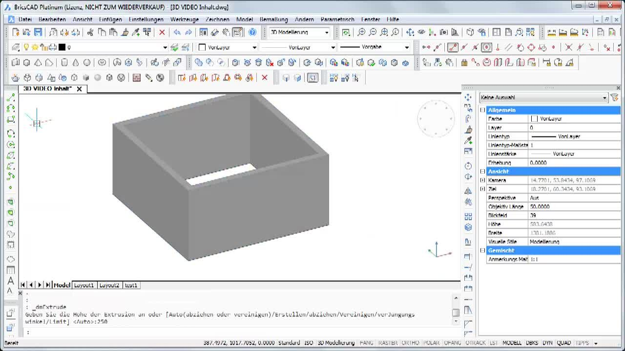 Inhalt BricsCAD 3D Channel