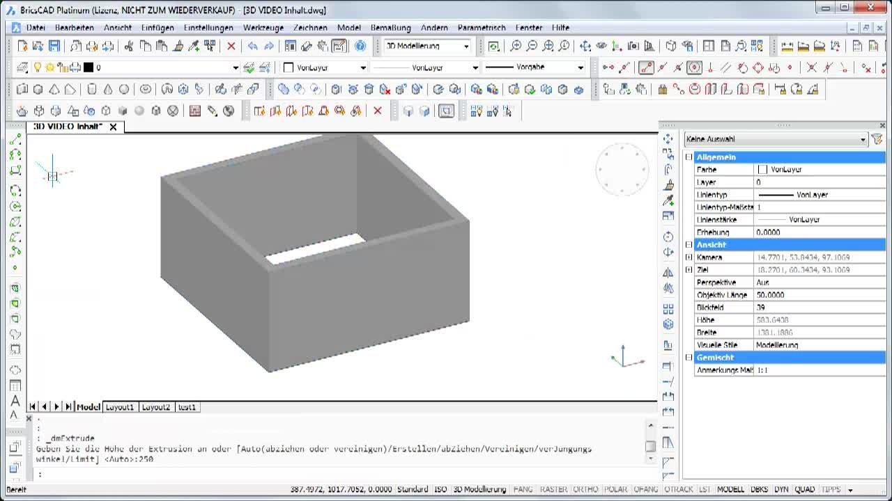 Inhalt BricsCAD 3D Channel