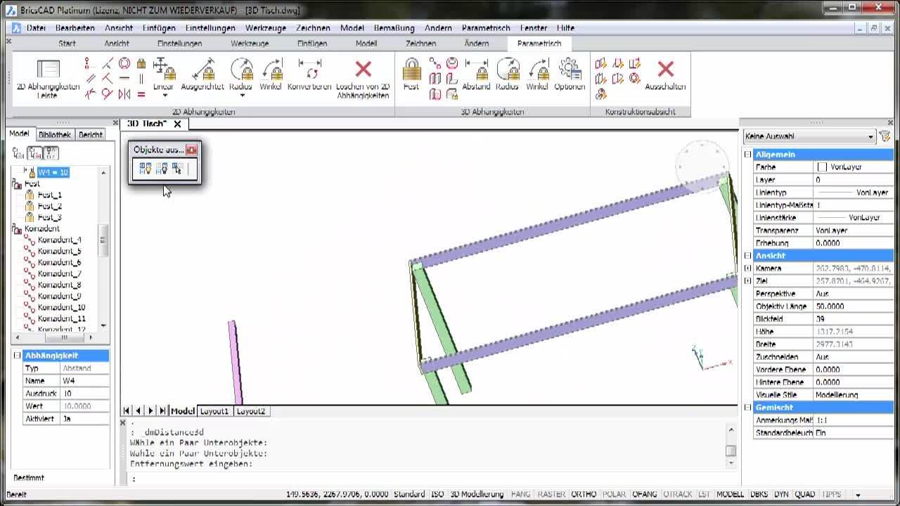 3D Parametrik Tisch - Praxisbeispiel