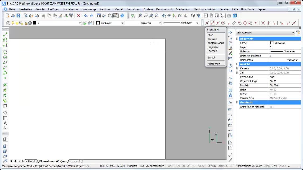 Planrahmen nach DIN erstellen :: BricsCAD 2D :: Channels ...