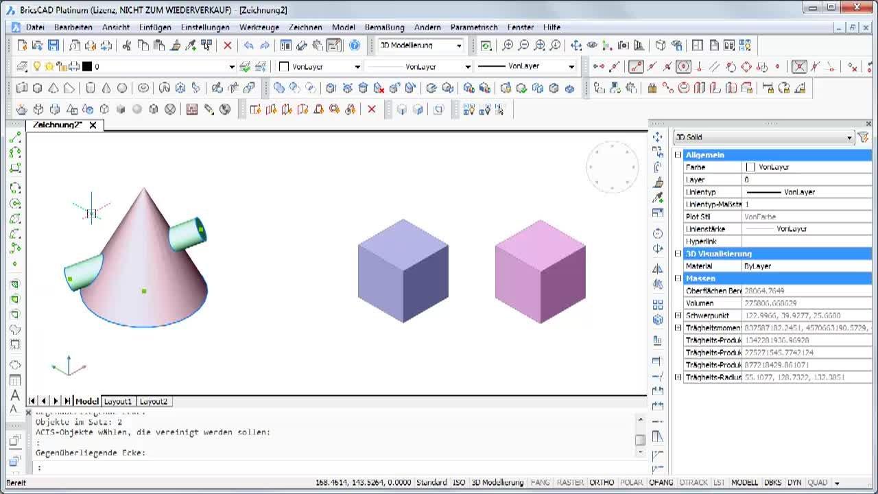 3D Objekte vereinigen